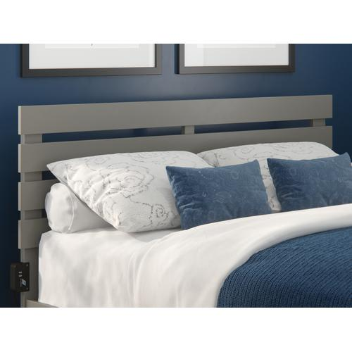 Oxford Queen Headboard with USB Turbo Charger in Grey