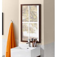 View Product - Contemporary Solid Wood Framed Bathroom Mirror in Vintage Walnut