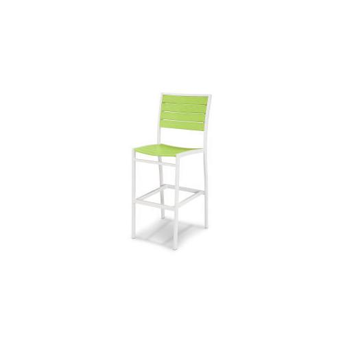 Polywood Furnishings - Eurou2122 Bar Side Chair in Satin White / Lime