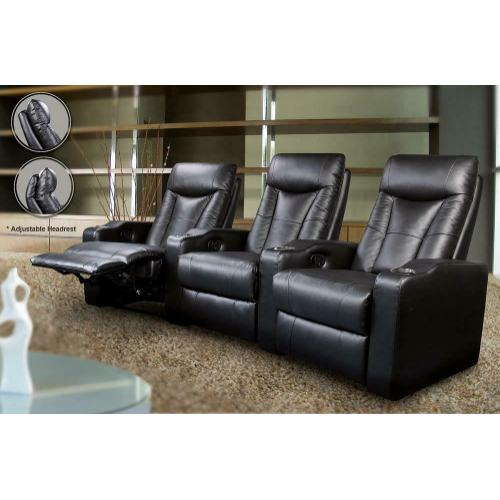 See Details - Pavillion Black Leather Two-seated Recliner