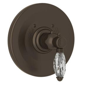 Thermostatic Trim Plate without Volume Control - Tuscan Brass with Crystal Metal Lever Handle