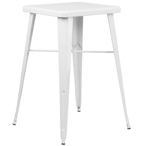 23.75'' Square White Metal Indoor-Outdoor Bar Height Table