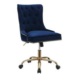 See Details - Modern Blue Velvet Office Chair
