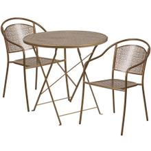 30'' Round Gold Indoor-Outdoor Steel Folding Patio Table Set with 2 Round Back Chairs