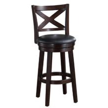 See Details - Solid Hardwood Barstool with PU Padded Swivel Seat