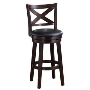 All Wood Furniture - Solid Hardwood Barstool with PU Padded Swivel Seat