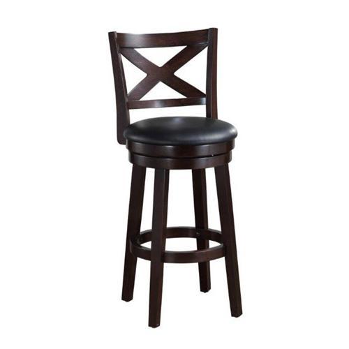 Gallery - Solid Hardwood Barstool with PU Padded Swivel Seat