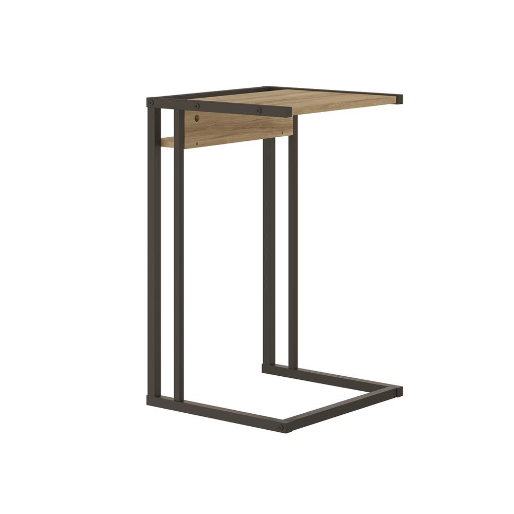 The Noa C End Table Part Of Our Kd Collection In Oak Melamine With Black Painted Metal Frame