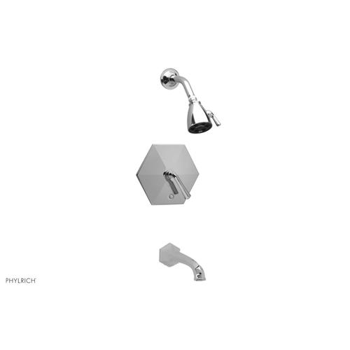 LE VERRE and LA CROSSE Pressure Balance Tub and Shower Set - Cross Handle PB2171 - Satin White