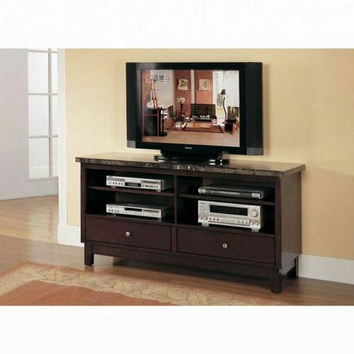 ACME Danville TV Stand - 07093B - Black Marble & Walnut