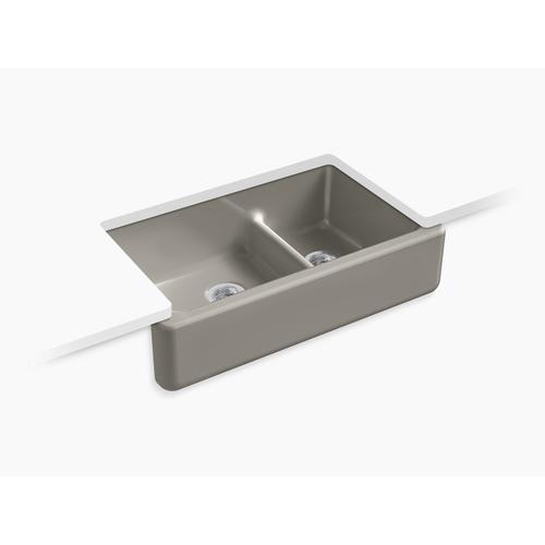 """Cashmere 35-11/16"""" X 21-9/16"""" X 9-5/8"""" Smart Divide Undermount Double-bowl Large/medium Farmhouse Kitchen Sink"""