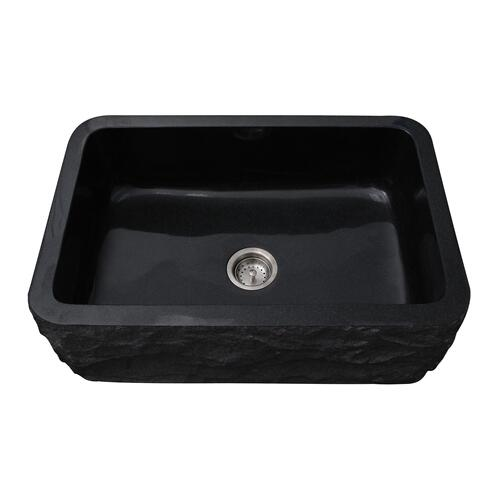 Birgitta Single Bowl Granite Farmer Sink - Polished Black / 30""