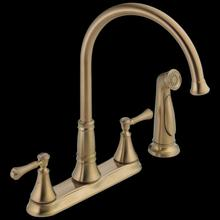 Champagne Bronze Two Handle Kitchen Faucet with Spray