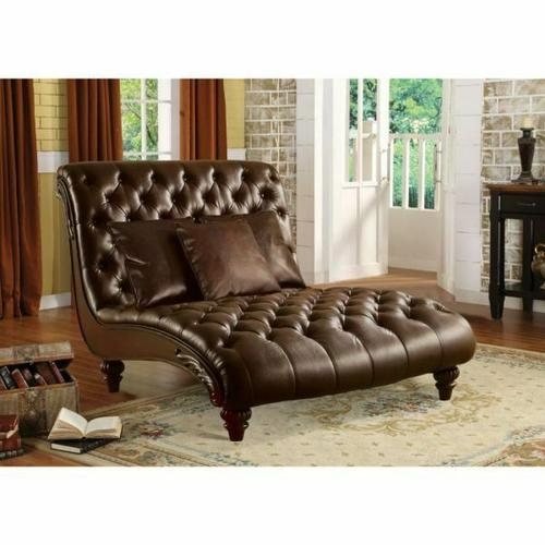 ACME Anondale Chaise w/3Pillows - 15035 - 2-Tone Brown PU