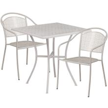 28'' Square Light Gray Indoor-Outdoor Steel Patio Table Set with 2 Round Back Chairs