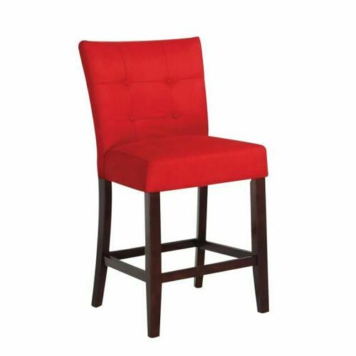 "ACME Baldwin Counter Height Chair (Set-2) - 16830 - Red Microfiber & Walnutt - 24"" Seat Height"