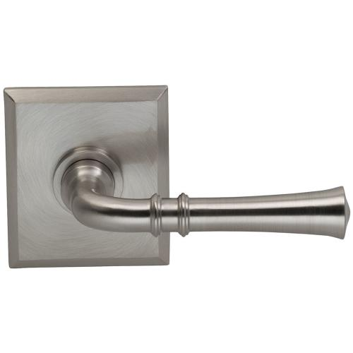 Interior Traditional Lever Latchset with Rectangular Rose in (US15 Satin Nickel Plated, Lacquered)