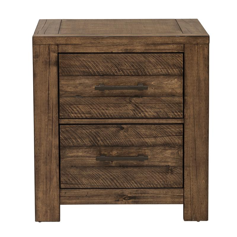 Nightstand with Two Drawers and Distressed Finish