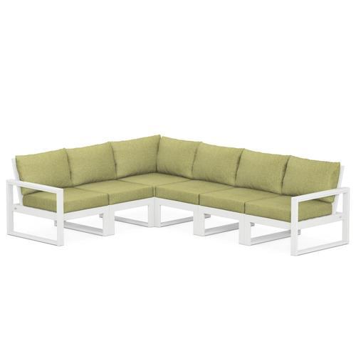 Polywood Furnishings - EDGE 6-Piece Modular Deep Seating Set in White / Chartreuse Boucle