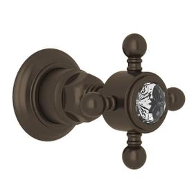 Trim for Volume Control and 4-Port Dedicated Diverter - Tuscan Brass with Crystal Cross Handle