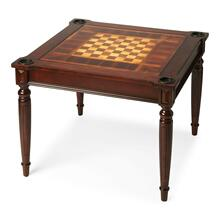 Play a variety of games on this stylish table that is veneered with a Plantation Cherry finish. The top inset has a game board for chess and checkers. Flip the inset over and it converts to a green felt-lined blackjack table. Remove the insert altogether