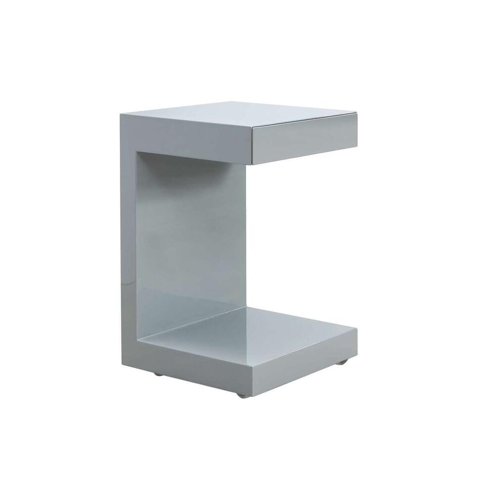 The Lino End Table In High Gloss Light Gray Lacquer