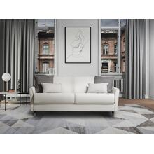 The Habitat Queen Size Sofa Bed In White Pu-leather And Gray Feet