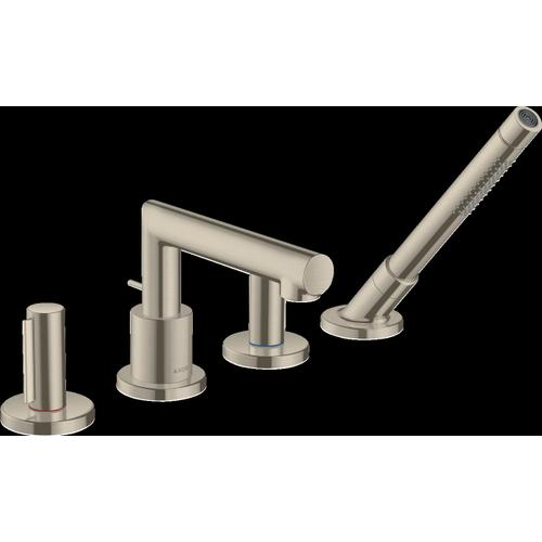 Brushed Nickel 4-Hole Roman Tub Set Trim with Zero Handles and 1.75 GPM Handshower