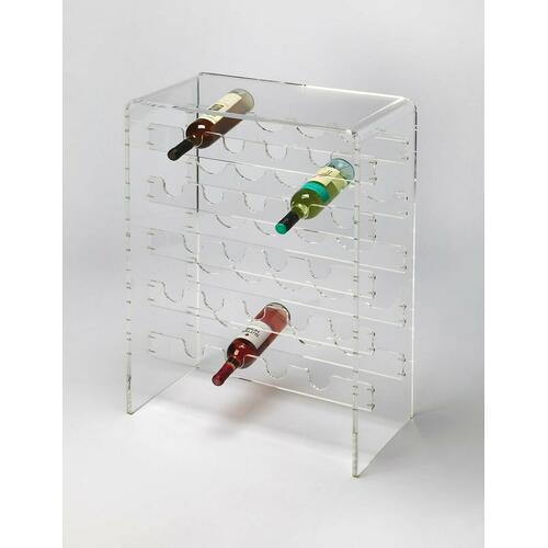Bring your wine cellar out of the dark ages with this clear, lucite wine rack. Create an open, reflective home for your favorite vintages, whether you are a collector, a world-class chef or an amateur connoisseur. Displays up to 20 bottles.