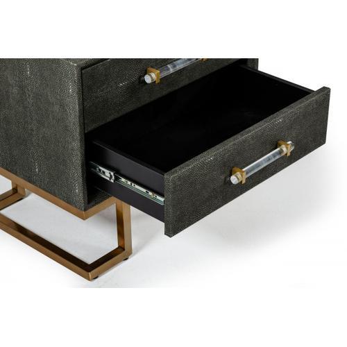 VIG Furniture - Modrest Howard - Modern Shagreen Grey Leatherette & Gold Nightstand