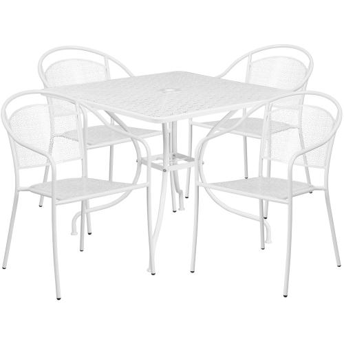35.5'' Square White Indoor-Outdoor Steel Patio Table Set with 4 Round Back Chairs