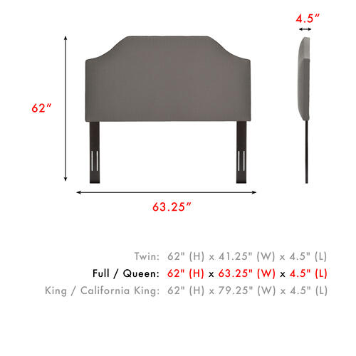 Fashion Bed Group - Bordeaux Upholstered Headboard with Adjustable Height and Sweeping Curve Design, Dolphin Finish, Full / Queen