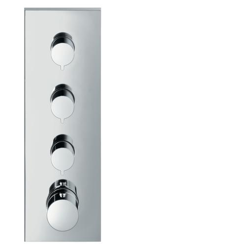 Polished Black Chrome Thermostatic module 360/120 for concealed installation square for 3 functions