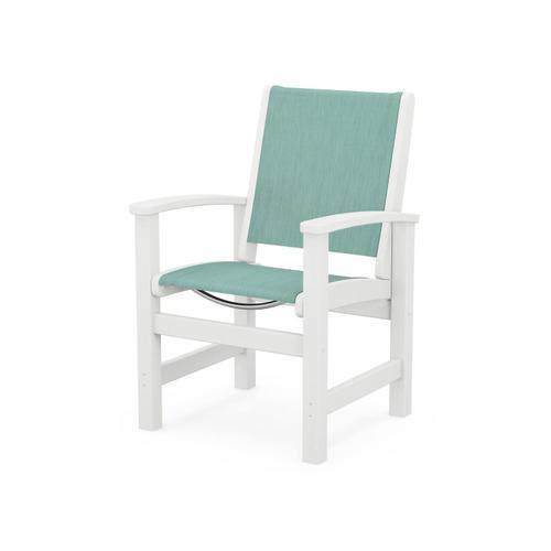 Coastal Dining Chair in Vintage White / Aquamarine Sling