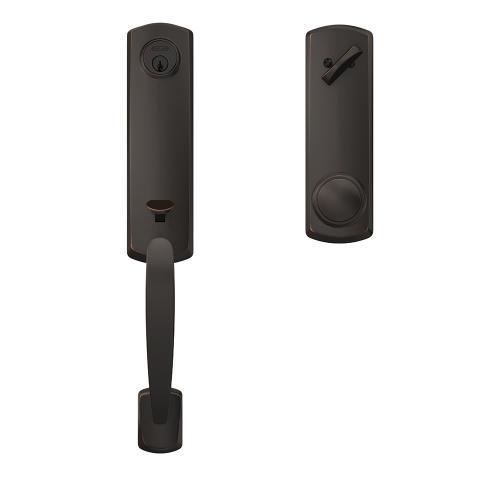Custom Greenwich 3/4 Trim Single Cylinder Handleset with Andover Knob - Aged Bronze