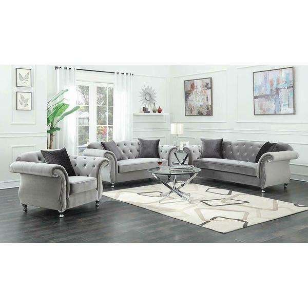 See Details - Frostine Traditional Silver Sofa