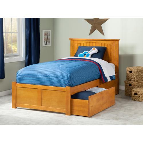 Nantucket Twin XL Flat Panel Foot Board with 2 Urban Bed Drawers Caramel Latte