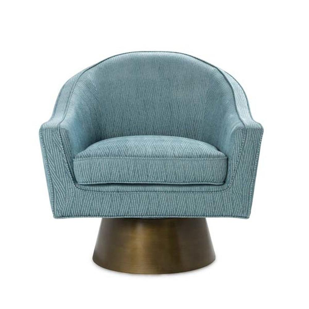 This Bold, Barrel Back Swivel Chair Will Steal the Show. Offered In A Gorgeous Chevron Patterned Turquoise Fabric With A Painted Brushed Bronze Base, Our Dominic Occasional Chair Is Perfect for Your Deco Moderne or Mid Century Interior.