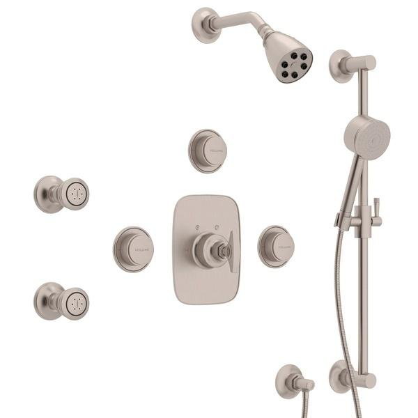 Satin Nickel GRACELINE THERMOSTATIC SHOWER PACKAGE with Metal Dial Handle Graceline Series Only