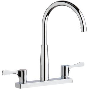 "Elkay 8"" Centerset Exposed Deck Mount Faucet with Gooseneck Spout and 4"" Lever Handles Chrome Product Image"