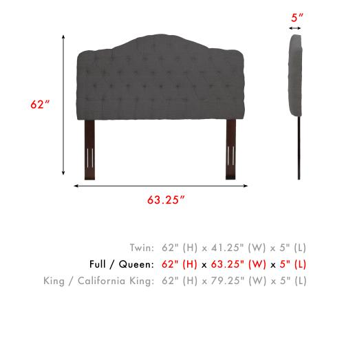 Moselle Button-Tuft Upholstered Headboard with Adjustable Height, French Gray Finish, Full/Queen