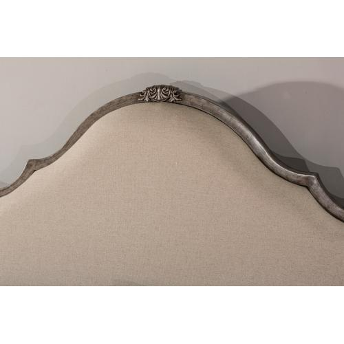 Delray Headboard - King - Aged Steel With Linen Stone