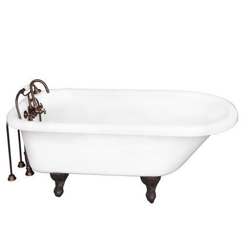 """Anthea 60"""" Acrylic Roll Top Tub Kit in White - Oil Rubbed Bronze Accessories"""