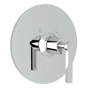 Lombardia Thermostatic Trim Plate without Volume Control - Polished Chrome with Metal Lever Handle