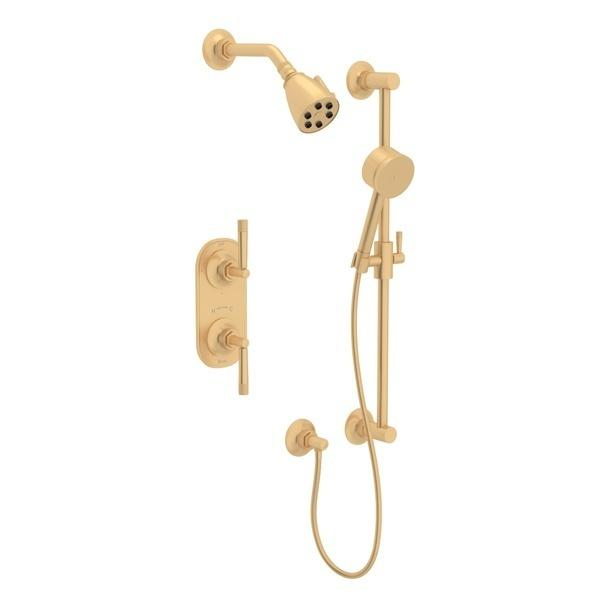 Satin Brass GRACELINE THERMOSTATIC SHOWER PACKAGE with Metal Lever Graceline Series Only