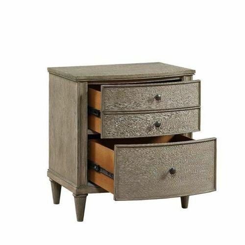 ACME Wynsor II Nightstand - 27733 - Transitional - Wood (Pine/Poplar), Wood Veneer (Oak), MDF,PB - White-Washed