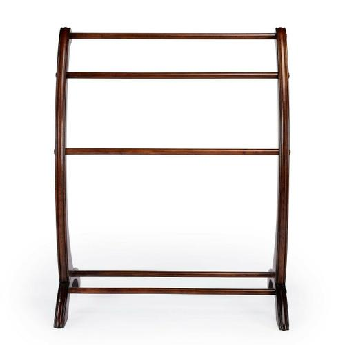 Butler Specialty Company - This charming transitional blanket stand is a practical addition in any living room, bedroom, or bathroom. Made from rubberwood and poplar hardwood solids, it boasts arched side supports with hand-carved appointments in a vibrant Plantation Cherry finish. The horizontal rails are ideal for hanging blankets, quilts, bedspreads or towels in the bathroom.