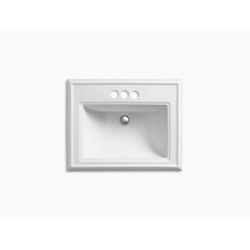 """Black Black Classic Drop-in Bathroom Sink With 4"""" Centerset Faucet Holes"""
