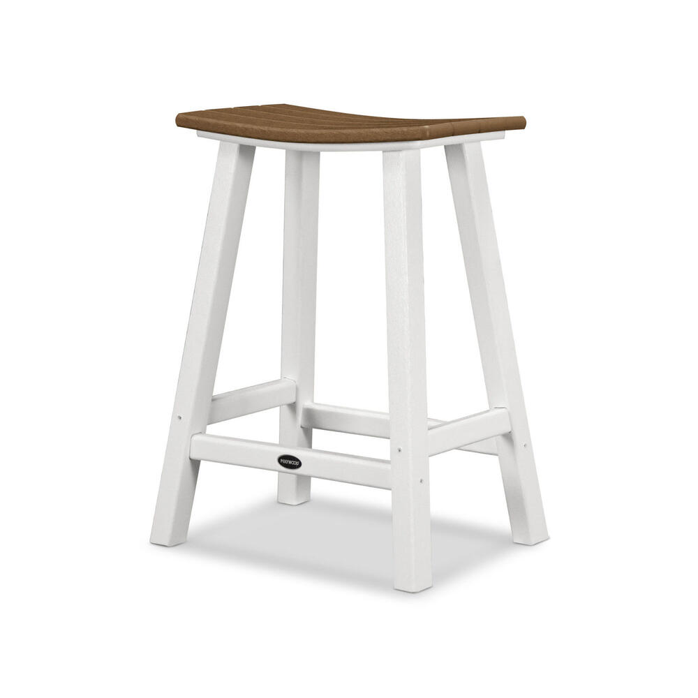 "White & Teak Contempo 24"" Saddle Bar Stool"