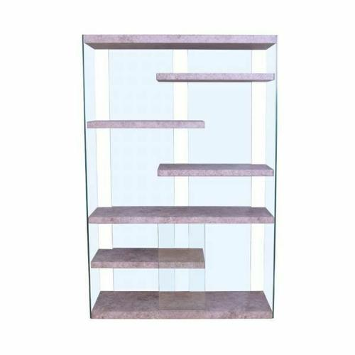 ACME Booyd Bookshelf - 92370 - Faux Concrete & Clear Glass